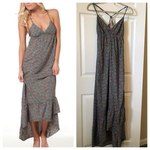 Billabong Floral Maxi Dress BOHO Strappy Ruffle